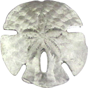 Signed Pewter Sand Dollar Brooch
