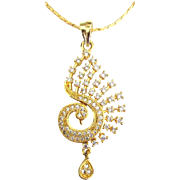 "Graceful Rhinestone Swan Pendant and 24"" Chain"