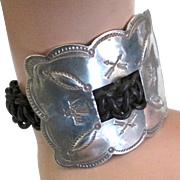 Huge Navajo Leather Sterling Buckle Bracelet
