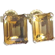 Stunning Huge 14K Citrine Pierced Earrings