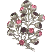 Lovely Signed Wisteria Rhinestone Brooch