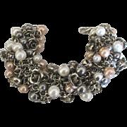 Fabulous Roses Faux Pearl Chain Mesh Bracelet