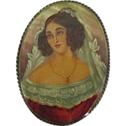 Lovely Female Portrait Brooch