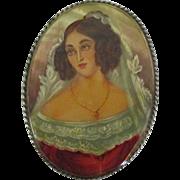 Lovely Female Portrait Brooch