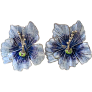 Lovely Enamel Orchid Pierced Earrings