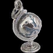 Enamel Sterling Spinning Globe Charm
