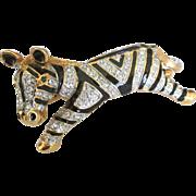 Sparkling Rhinestone Enamel Zebra Shoulder Brooch