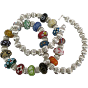 Estate Sterling Italian Murano Glass Bead Necklace- 20 Inches
