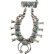 Signed Sterling Turquoise Squash Blossom Brooch