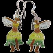 Sterling Enamel Hawaiian Hula Dancer Pierced Earrings