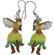 Sterling Enamel Hawaiian Hula Dancer Pierced Earrings