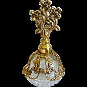 Vintage Ormolu Perfume with Flower Topped Glass Dauber