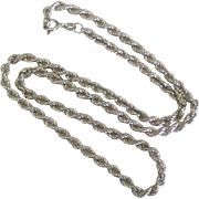 "18"" Italian Sterling Twisted Rope Chain Necklace"