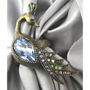 Fabulous Vintage Rhinestone Peacock Ring- Size 7 1/4