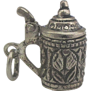 Vintage Ornate Movable Sterling Beer Stein Charm