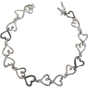 Pretty Sterling Textured Heart Link Bracelet