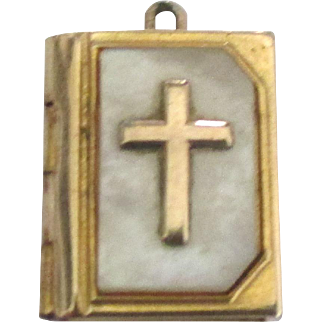 Vintage MOP Opening Frame Charm with Cross