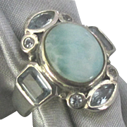 Sterling Larimar Blue Topaz Ring- Size 5 7/8