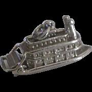 Vintage Sterling Paddle Wheel River Boat Charm