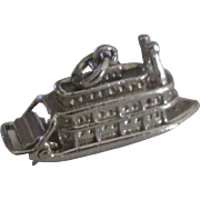 Vintage Sterling Paddle Wheel River Boat Charm