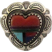Vintage Carolyn Pollack Sterling Inlaid Heart Ring- Size 7