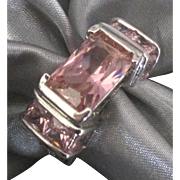 Pretty in Pink Glass Stone Sterling Cocktail Ring- Size 7