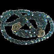 Stunning Vintage Bergere AB Teal Crystal Necklace and Bracelet Demi Parure
