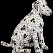 Sparkling Rhinestone Dalmation Dog Brooch