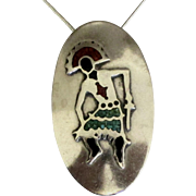 Large Estate NA Inlaid Sterling Kachina Pendant and Chain