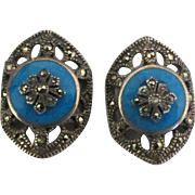 Vintage Sterling Enamel Marcasite Pierced Earrings