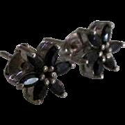 Sterling Sapphire Blue Topaz Flower Pierced Earrings