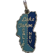 Vintage Enamel Sterling Lake Tahoe California and Nevada Charm