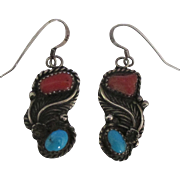 Signed NA Sterling Turquoise Coral Pierced Earrings