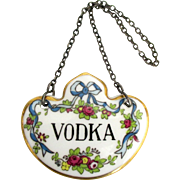 English Porcelain Vodka Liquor Bottle Decanter Tag