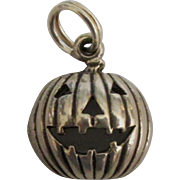Adorable Sterling Halloween Pumpkin Charm