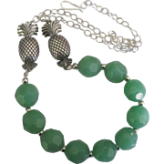 Sterling Pineapple Necklace with Faceted Soft Green Glass Beads