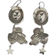 Sterling Western Hat and Saddle Pierced Earrings