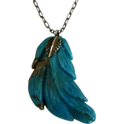 "Vintage Carved Turquoise Leaf with 18"" Sterling Chain"