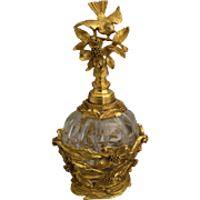Estate Ormolu Birds and Flowers Perfume Bottle with Dauber