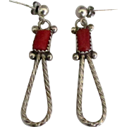 Vintage NA Navajo Sterling Coral Pierced Earrings