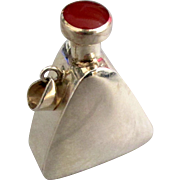 Vintage Sleek Sterling Carnelian Perfume Pendant with Dauber