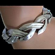 Vintage Crown Trifari Silver Tone Braided Link Bracelet
