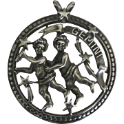 Vintage Beau Sterling Gemini Cupid Pendant