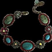 Sparkling Signed Faux Turquoise Rhinestone Flower Bracelet