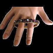 Sparkling Vintage AB Red Rhinestone Hinged Bracelet