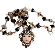 Pretty Sterling Female Face Citrine and Onyx Necklace