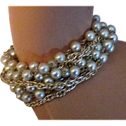 Vintage Signed Coro 10 Stand Faux Pearl and Chain Bracelet