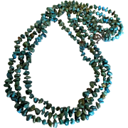 """Vintage Turquoise Knotted Bead 85"""" Necklace with Sterling Toggle"""