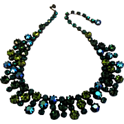 Stunning Vintage AB Teal Blue and Green Rhinestone Bib Necklace