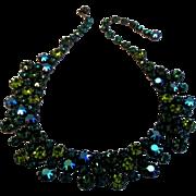 Stunning Vintage AB Teal Blue and Green Rhinestone Bib Necklace